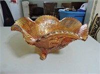 Beautiful Carnival Glass Footed Bowl, Rose Pattern