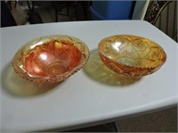 2 Carnival Glass Candy Dishes