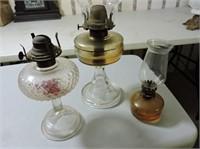 "3 Oil Lamps, Tallest 18"""
