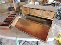 "Antique Wood Tool Box, 18"" x 9"" x 9.5"""
