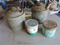 2 Small Gas Cans, Tobacco Cans