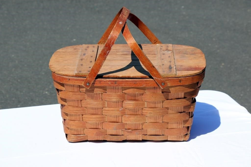 Vintage Picnic Basket Wov N Wood Jerywil Big Al S Auction
