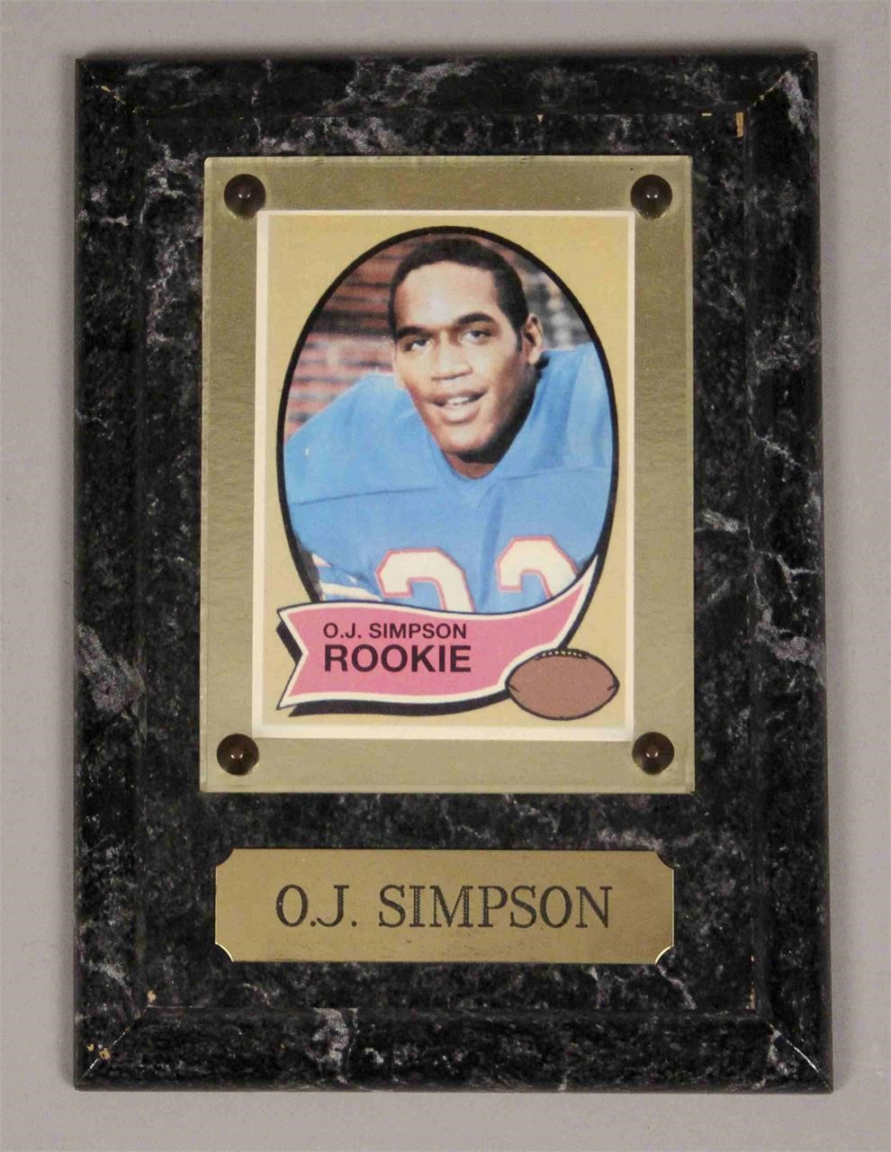 Oj Simpson Football Rookie Card Plaque Pace Hong Auctions
