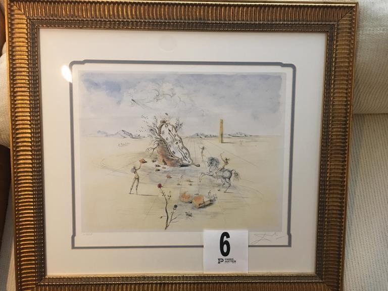 Lot 6 Cosmic Horseman By Salvador Dali 17x20 In Frame