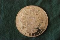 1915 4 Ducat Austrian Gold Coin