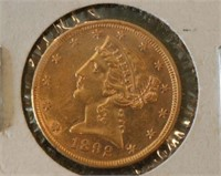 1892 $5 U.S. Liberty Gold Coin