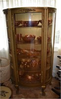 Oak China Cabinet Full Carnival glass