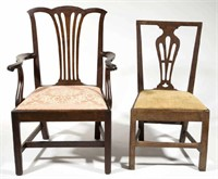 Rare Southern seating furniture, including a VA / MD mahogany armchair and Roanoke River Basin (VA / NC) walnut side chair