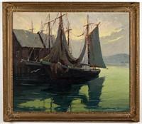 "Walter Thomas Sacks (American, 1901-1961) oil on canvas harbor scene, 29 ½"" x 34 ½"" sight, 35 ½"" x 40 ½"" OA"