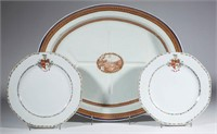 Chinese export porcelain including two matching plates having the arms of Dacre impaling Weldon with bianco-sopra-bianco decoration