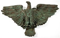 """19th-century molded-copper architectural eagle ornament from the American Bank building in Richmond, VA, ex-Robert Crawford, 70"""" WOA"""