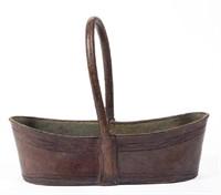 Fine Virginia leather key basket, discovered in a Roanoke estate