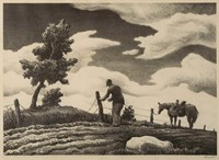 """Thomas Hart Benton (American, 1889-1975) lithograph, """"The Fence Mender"""" (c. 1940), pencil signed in margin lower right"""