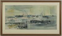 "Lamar William Dodd (Georgia, 1909-1996) New England coastal scene, watercolor on paper, dated ""1953"""