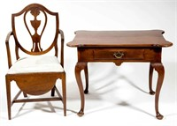 Maryland, possibly Annapolis, walnut / mahogany close stool and Tidewater Virginia walnut tea table