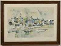 "Lamar William Dodd (Georgia, 1909-1996) New England coastal scene, watercolor on paper, identified verso as Stonington, CT, dated ""1953"""