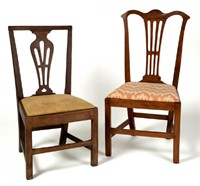 Selection of Southern seating furniture, including a Roanoke River Basin (VA/NC) Chippendale walnut side chair with early surface
