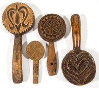 Good selection of carved treen butter prints