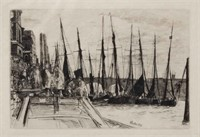 """James Abbot McNeill Whistler (American, 1834-1903) """"Billingsgate"""" etching, a fine impression, 6"""" x 8 7/8"""" plate"""