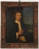 Mid 18th-century oil on canvas portrait of a man, sitter believed to be Joseph Kellogg (New York / Massachusetts, 1691-1756), who was taken captive by Native Americans in the Deerfield Raid of 1704, descended directly in the family of the present owner