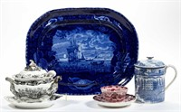 """Fine forms and patterns of English transfer-printed ceramics including a large platter having the design """"Cape Coast Castle on the Gold Coast of Africa"""" and Henshall and Company's sauce tureen and undertray having """"Gothic Scenery"""" design."""