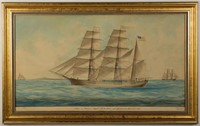 """J. Dodge (19th century) folk art watercolor painting of the ship, """"John F. Patterson"""", signed and dated 1865, ex. Kelly Kinzle"""