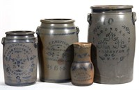 Stenciled stoneware, including PA and WV examples