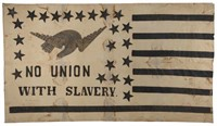 """Rare and historically important Abolitionist flag banner (c. 1861) of impressive size, 60"""" x 106"""", featured on """"History Detectives"""" (Episode 3, 2004), Rochester, NY history"""