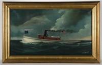 "Howard Freeman Sprague (American, 1871-1899) painting of tug, ""J. S. Blazier"""