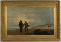 """Soren Emil Carlsen (Danish-American, 1853-1932) oil on canvas coastal landscape with figures, likely a view in Normandy, 25 ¼"""" x 41 ¼"""" sight, 36 ½"""" x 52 ½"""" OA"""