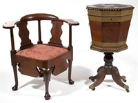 Chippendale carved mahogany corner / necessary chair from the Galt estate, Williamsburg, VA, and an unusual brass-inlaid carved mahogany cellarette