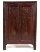 North Carolina paint-decorated yellow pine jelly cupboard, fresh from a Cleveland Co., NC estate