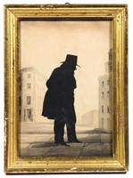 19th-century cut-and-pasted full-length silhouette with Richmond, VA history, possibly William Henry Brown (1808-1883)