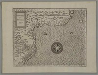 """Cornelius Van Wytfliet (Flemish, 1550-1597) """"Norumbega et Virginia"""" (1597) map of the Atlantic Seaboard, deaccessioned by the Colonial Williamsburg Foundation with proceeds to benefit the Collections and Acquisitions Funds"""