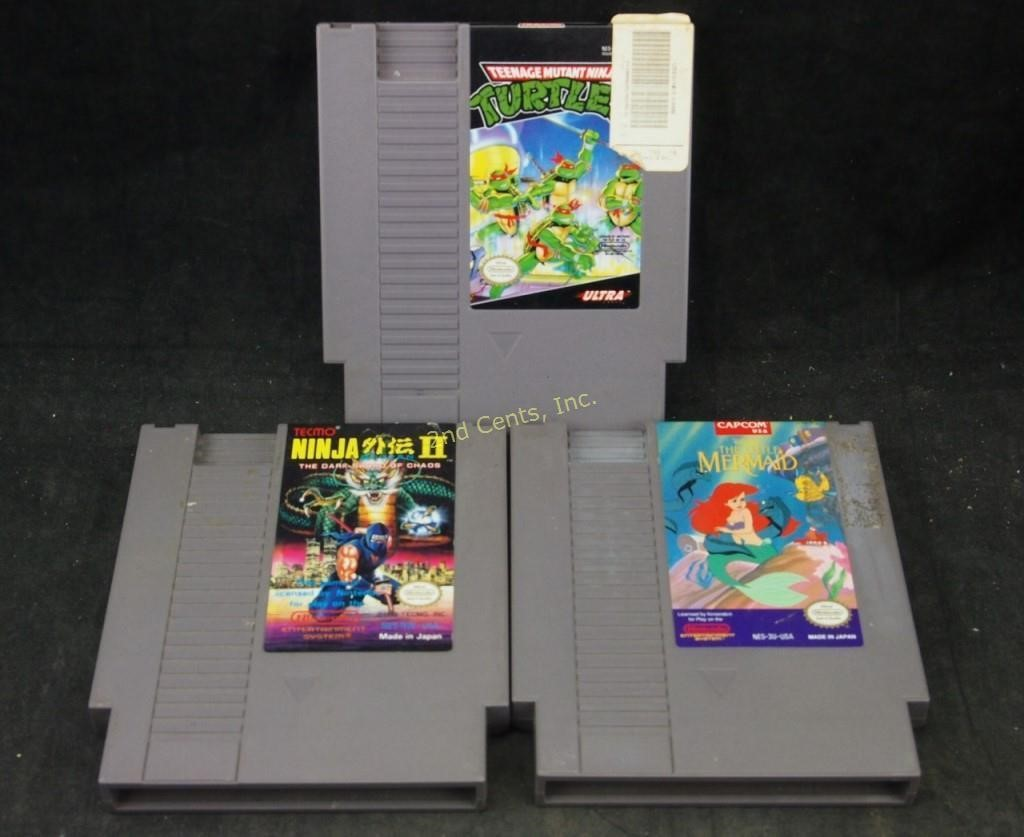 3 Nintendo Nes Games Turtles Ninja Gaiden Mermaid 2nd Cents Inc