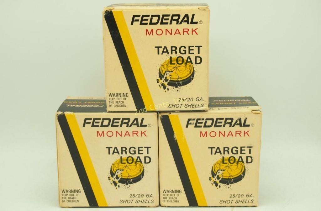3 Boxes Federal Monark 20 Ga Shotgun Shells Target   2nd
