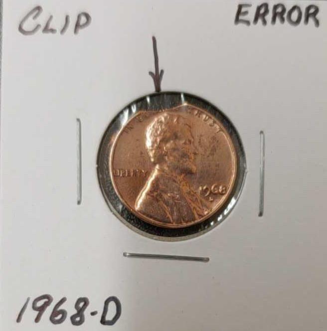 1968-D clip error penny | Auction Depot Idaho