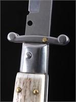 Frank Beltrame Stag Horn Swinguard Switchblade | HiBid Auctions