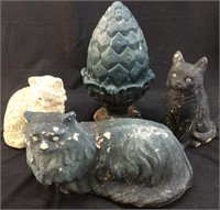 3 Concrete Cats And 1 Pineapple Yard Art