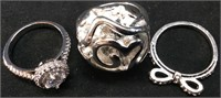3 STERLING RINGS LOT