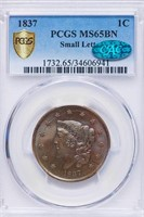 L1C 1837 SMALL LETTERS. PCGS MS65 BN CAC