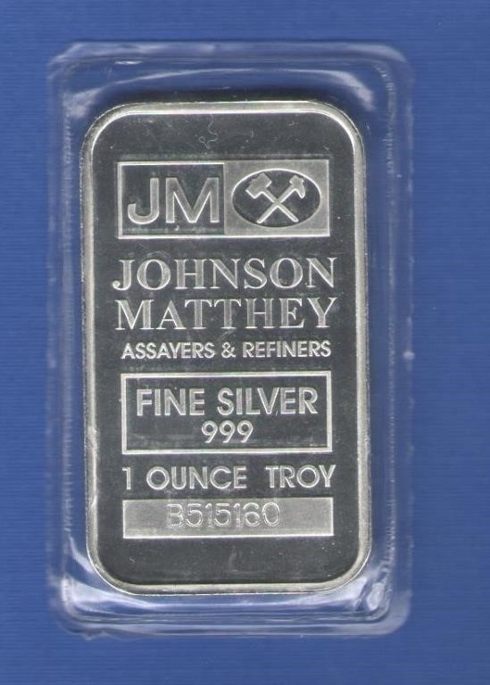 1 oz  Johnson Matthey Silver Bar | KTB Rare Coins and Currency