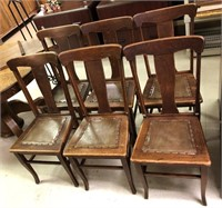 Superb Antique Oak T Back Leather Seat Dining Chairs Gallery One Cjindustries Chair Design For Home Cjindustriesco