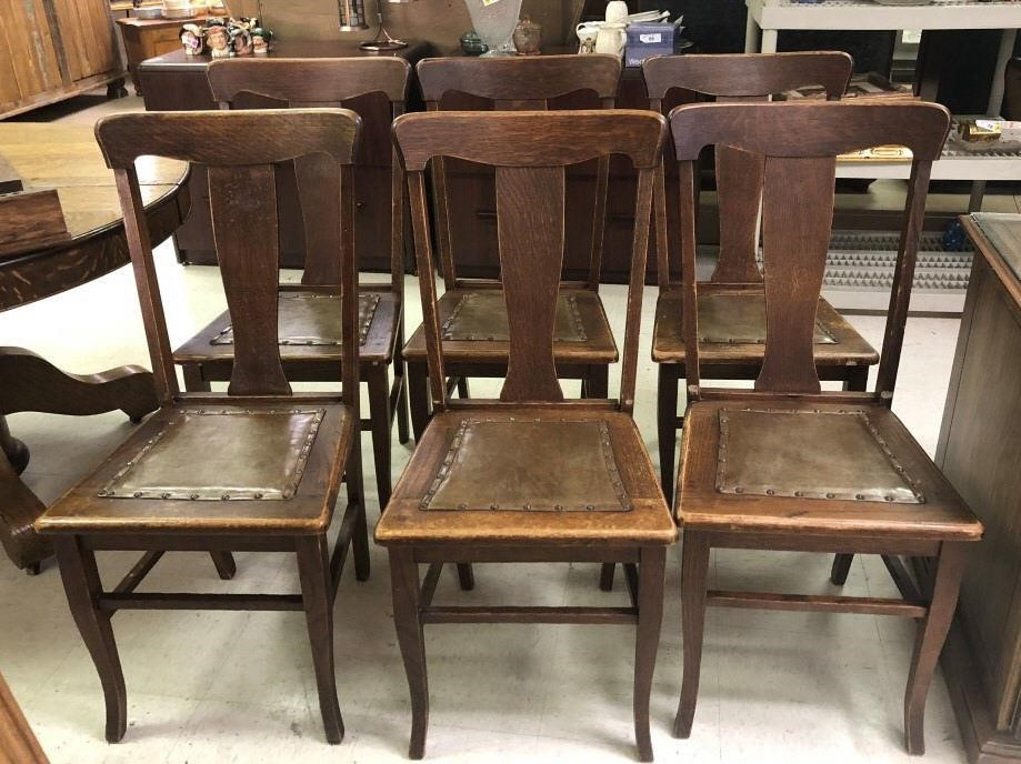 Awe Inspiring Antique Oak T Back Leather Seat Dining Chairs Gallery One Cjindustries Chair Design For Home Cjindustriesco
