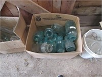 Vintage canning jars, glass items, wood crate