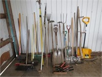 Shovels, rakes, garden tools, etc..