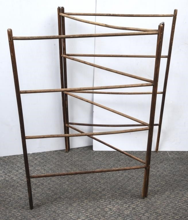 Vintage Tri Fold Wood Drying Rack The