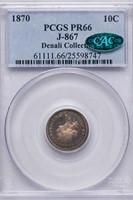 10C 1870 J-867. PCGS PR66 CAC