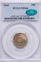 10C 1843 PCGS MS66 CAC