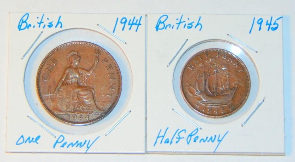 1944 One Penny Coin & 1945 Half Penny Coin | A2Z Auctions